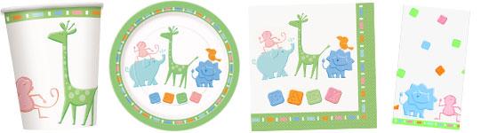 Babyparty-Set mit kleinen Zoo-Tieren
