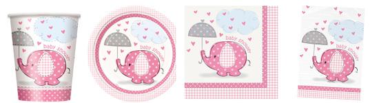 Rosafarbenes Babyparty-Set mit kleinem Elefanten