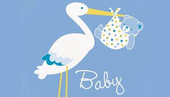 Blauer Storch für die Baby Shower