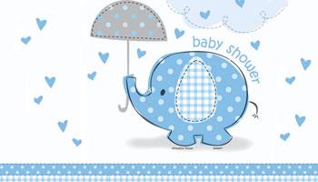 Blauer Elefant für die Babyparty