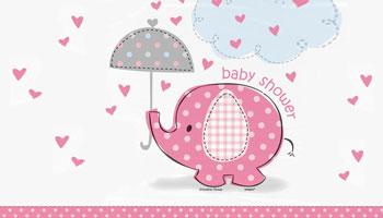 Rosafarbener Elefant für die Babyparty