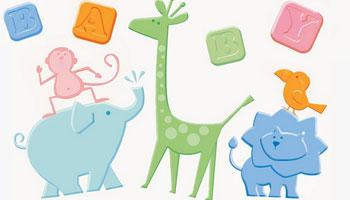 Baby Shower Motiv mit kleinen Zoo-Tieren