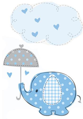 Blauer Baby-Elefant mit Regenschirm