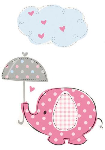 Rosafarbener Baby-Elefant mit Regenschirm