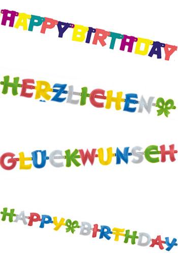 Geburtstags-Girlanden mit Motto-Motiven