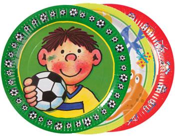 Bunte Pappteller für den Kindergeburtstag