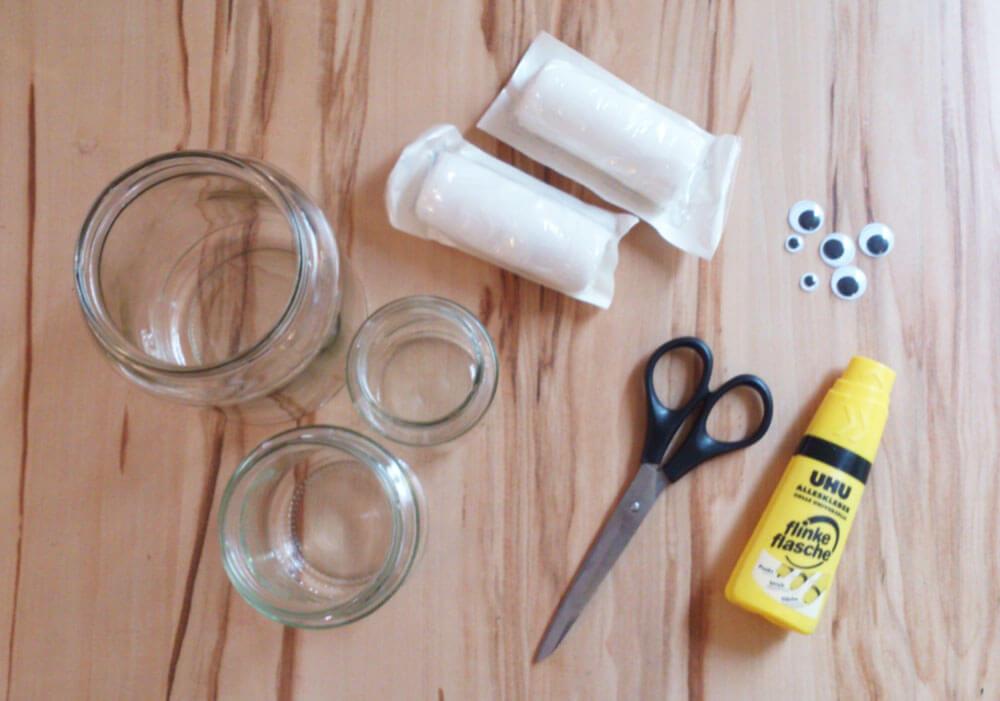 Bastelmaterial für Mumien-Gläser