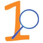 Blaue Lupe mit der Zahl 1
