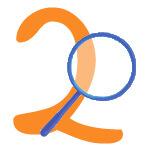 Blaue Lupe mit der Zahl 2