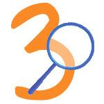 Blaue Lupe mit der Zahl 3