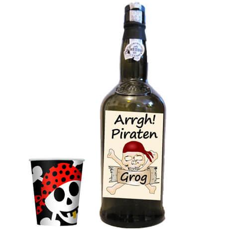 Flasche mit Totenkopf-Label