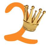 Prinzessinnen-Krone mit der Zahl 2