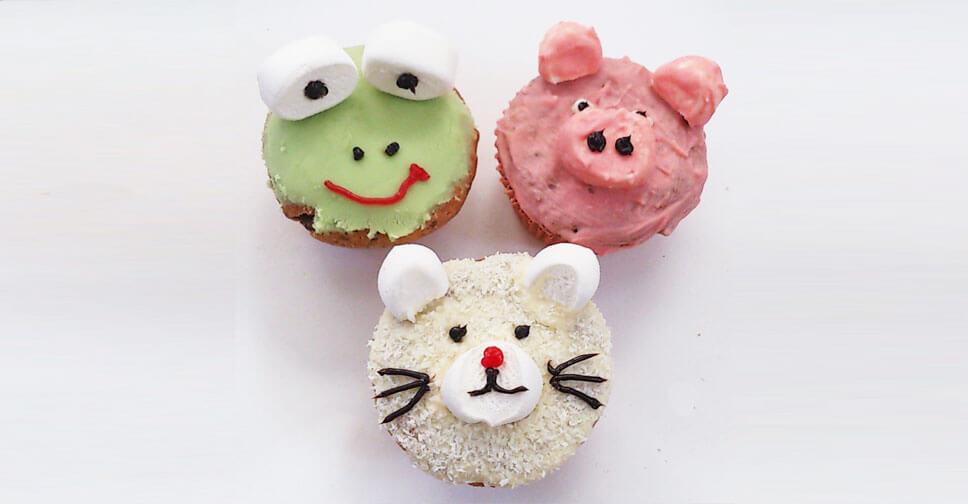 Lustige Tier-Muffins für den Kindergeburtstag