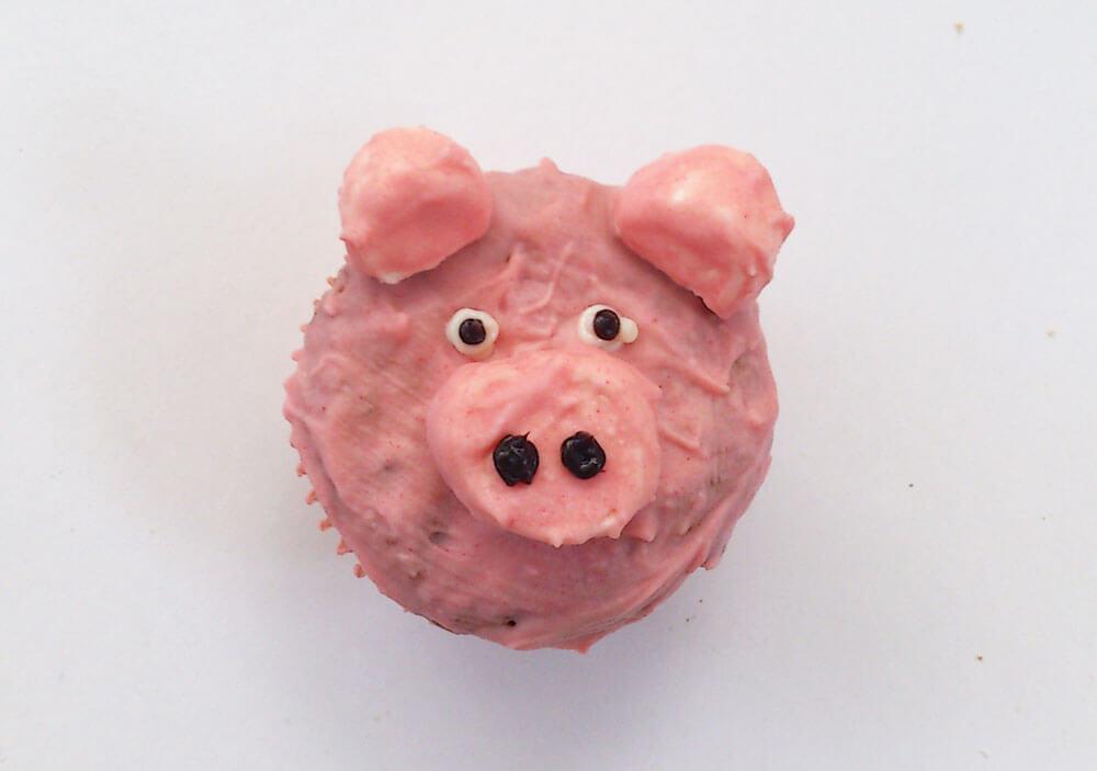 Als Schwein dekorierter Muffin