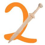 Ritterschwert mit der Zahl 2