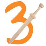 Ritterschwert mit der Zahl 3