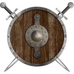 Ritter-Wappen mit Schild und kreuzenden Schwertern