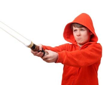Kind mit Laserschwert