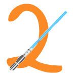 Laserschwert mit der Zahl 2