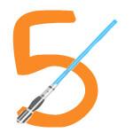 Laserschwert mit der Zahl 5