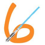 Laserschwert mit der Zahl 6