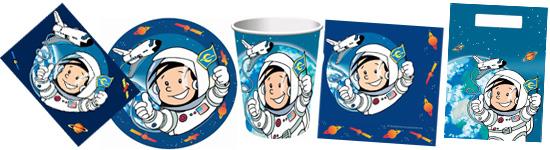 Kinderparty-Set mit kleinem Astronauten