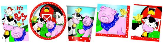 Kinderparty-Set mit Bauernhof-Tieren