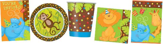 Kinderparty-Set mit Dschungel-Tieren