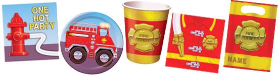 Kinderparty-Set mit Feuerwehr-Emblem