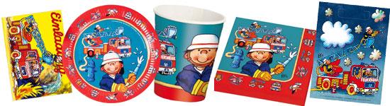 Kinderparty-Set mit kleinem Feuerwehrmann