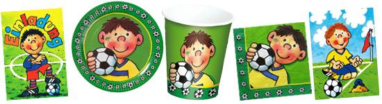 Kinderparty-Set mit kleinem Fußballspieler