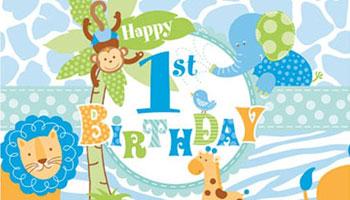 Blaue Safari-Tiere für den ersten Geburtstag