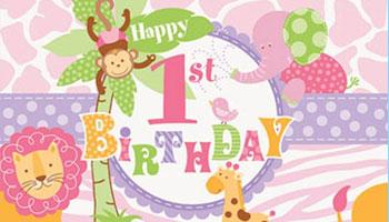 Rosafarbene Safari-Tiere für den ersten Geburtstag