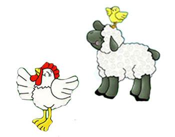 Schaf und Hahn