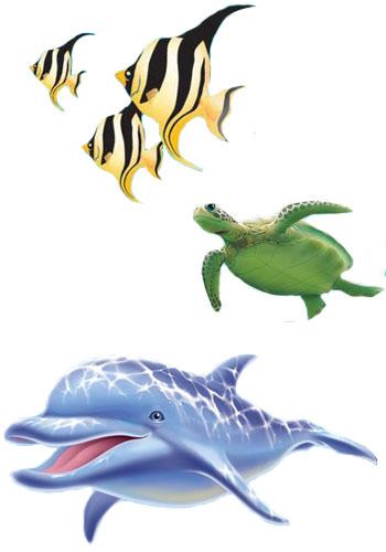 Delfin mit Schildkröte und Fischen