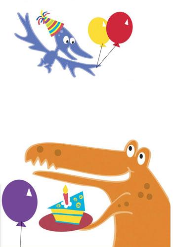 Bunte Dinos mit Geburtstagstorte