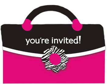 Girly Party Einladungskarten im Handtaschen-Design