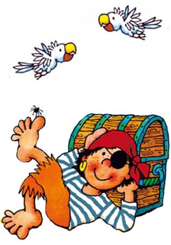 Kleiner Pirat mit Schatztruhe