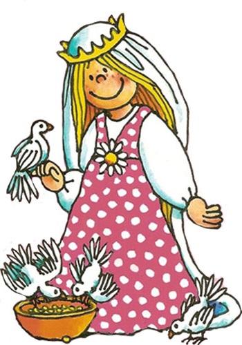 Kleine Prinzessin mit weißen Tauben