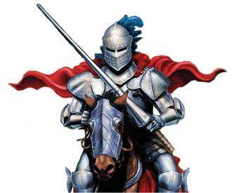 Ritter mit silberner Rüstung auf einem Pferd