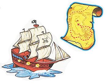 Piratenschiff mit Schatzkarte
