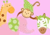 Rosa Safari-Motiv für den ersten Geburtstag