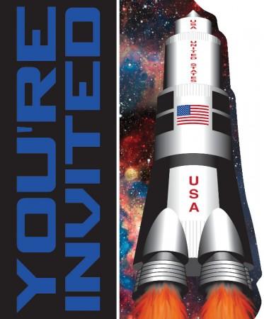 Kindergeburtstag Einladung Mit Mond Rakete