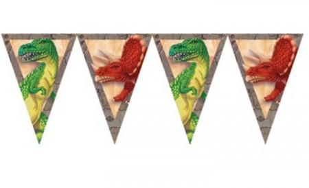 Dino-Party-Wimpelkette mit Dinosauriern