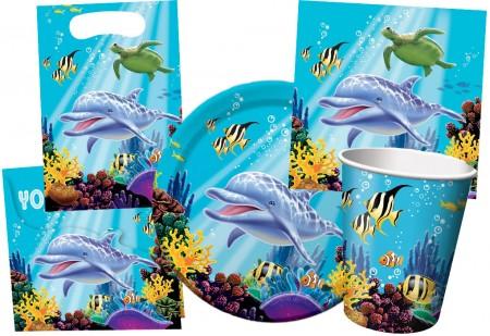 Kinderparty-Set mit süßem Delfin