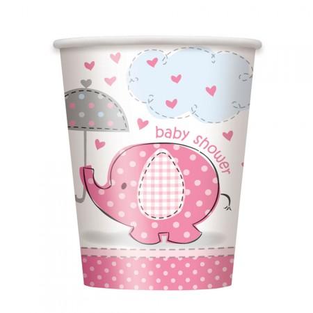 Pappbecher mit rosafarbenem Elefanten