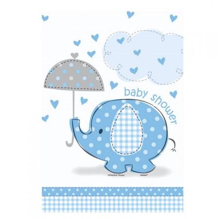 Tischdecke mit blauem Elefanten