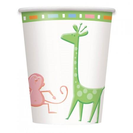 Baby Shower Pappbecher mit kleinen Zoo-Tieren