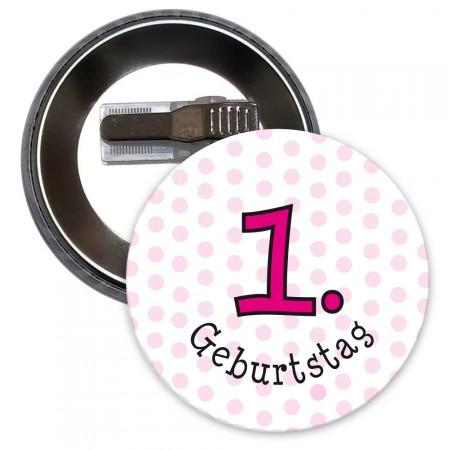 Button für 1. Geburtstag in Pink
