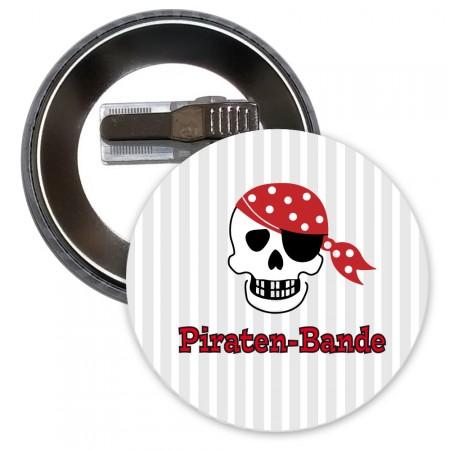 Metallbutton mit Piratenmotiv und Krokoclip